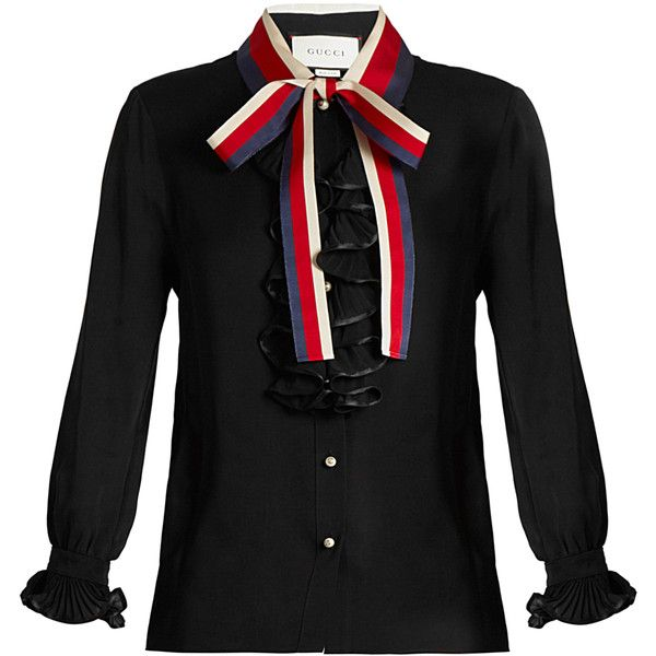 f03ccba0b Gucci Frill-trimmed silk-georgette blouse (2,675 CAD) ❤ liked on Polyvore