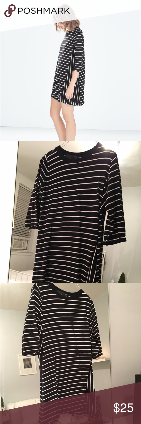 Zara long sleeve striped dress gently used black and white striped