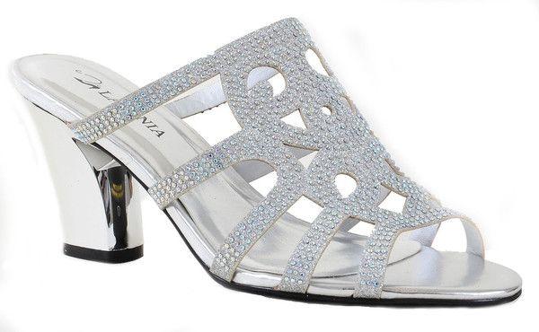 Elegant Beaded Glitter Formal Chrome Heel Slide Sandals