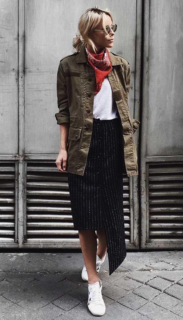 830c8d6268b2 military inspired e saia midi com assimetria Ανοιξιάτικη Μόδα, Γυναικεία  Μόδα, Streetwear
