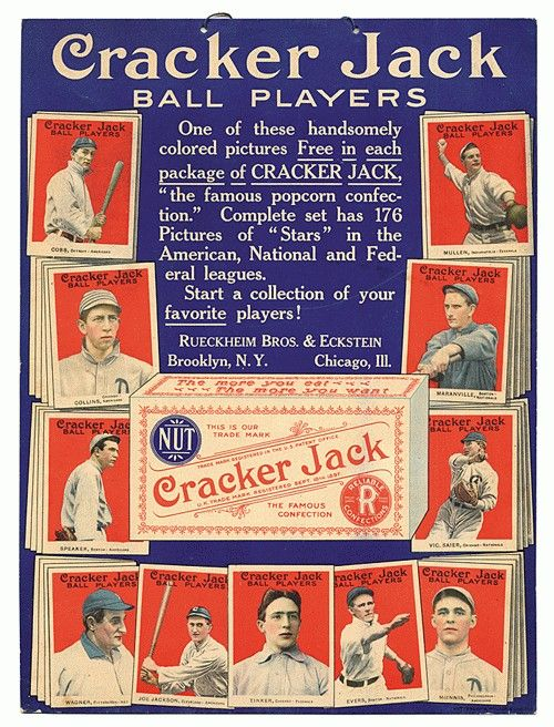 Poster advertising Cracker Jack baseball card inserts (1915).  National League, American League, and Federal League cards included.