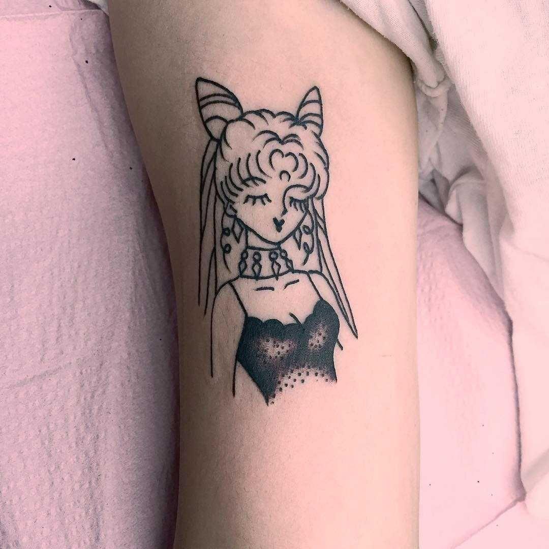 Small Anime Lady Tattoo Tattoos For Women Neck Tattoo Tattoos