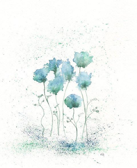 Blue Fields Of Love Blue Green Flowers Archival Watercolor Print 19 00 Via Basic Watercolor Watercolor Paintings Easy Watercolor Paintings For Beginners