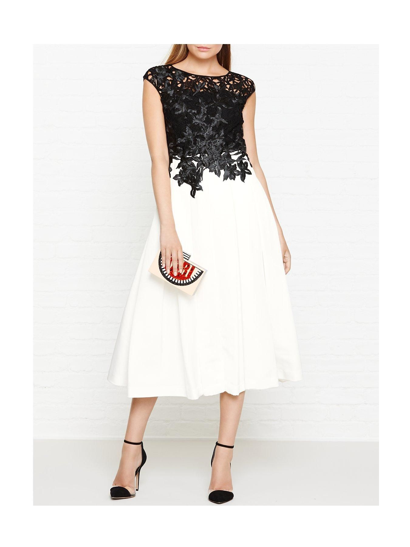 bc0f0243560505 Ted Baker Ilsa Applique Lace Body Dress - Black WhiteSize   Fit True to  size - order your usual sizeBoned body with a slim fit and a wide