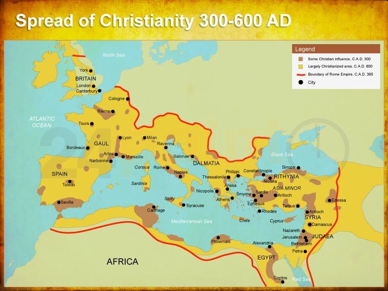 PowerPoint Map of Spread of Christianity 300-600 AD | Editable ...