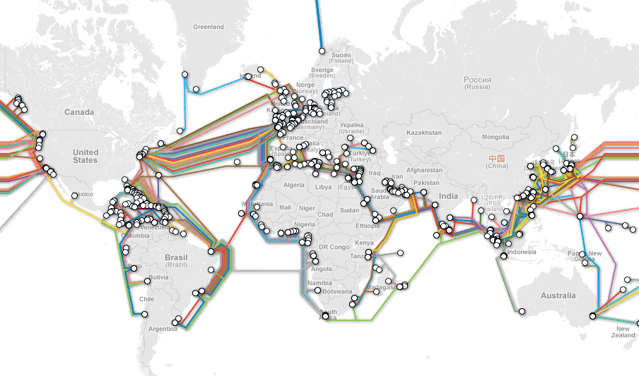 A World Map of the Undersea Internet Cables | banker