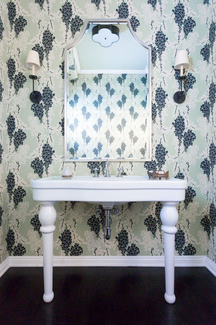 Wisteria Wallpapered Powder Room in a Traditional ...