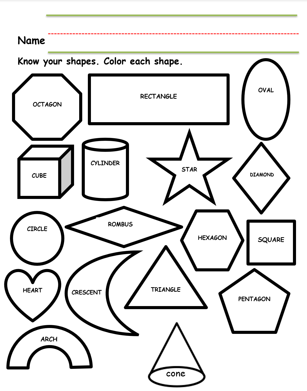 Preschool Worksheet Identifying Shapes In