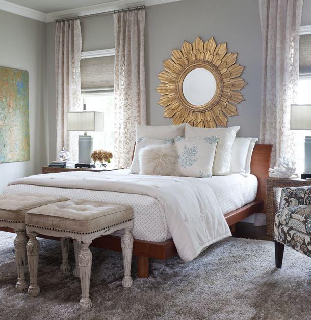 Gray Blue Bedroom Classic Romantic Chic Gold Sun Mirror Home