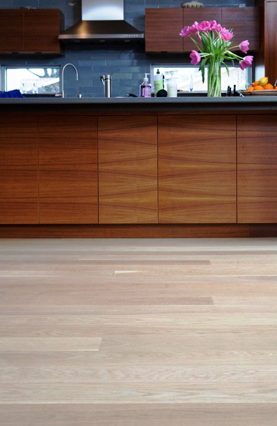 Bleached White Oak Flooring In A Contemporary Kitchen