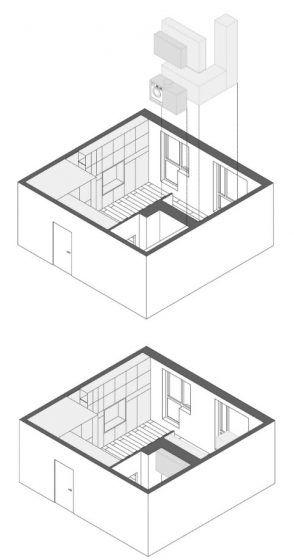 Plano 3D de equipamiento de departamento