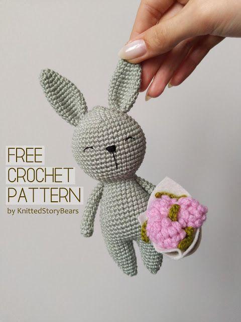 Little crochet bunny FREE PATTERN - KNITTED STORY BEARS #crochetbearpatterns