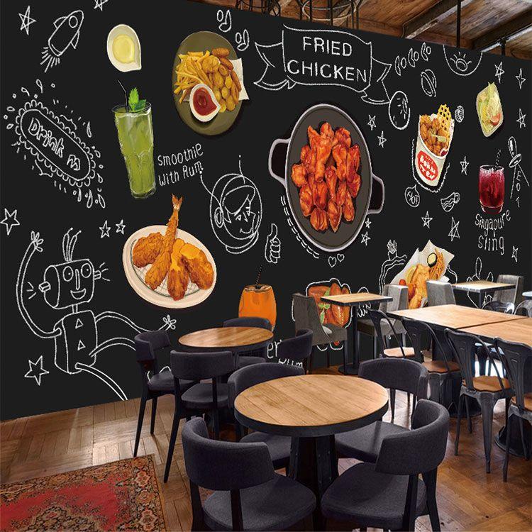 Custom 3D Photo Wallpaper Blackboard Graffiti Food Mural