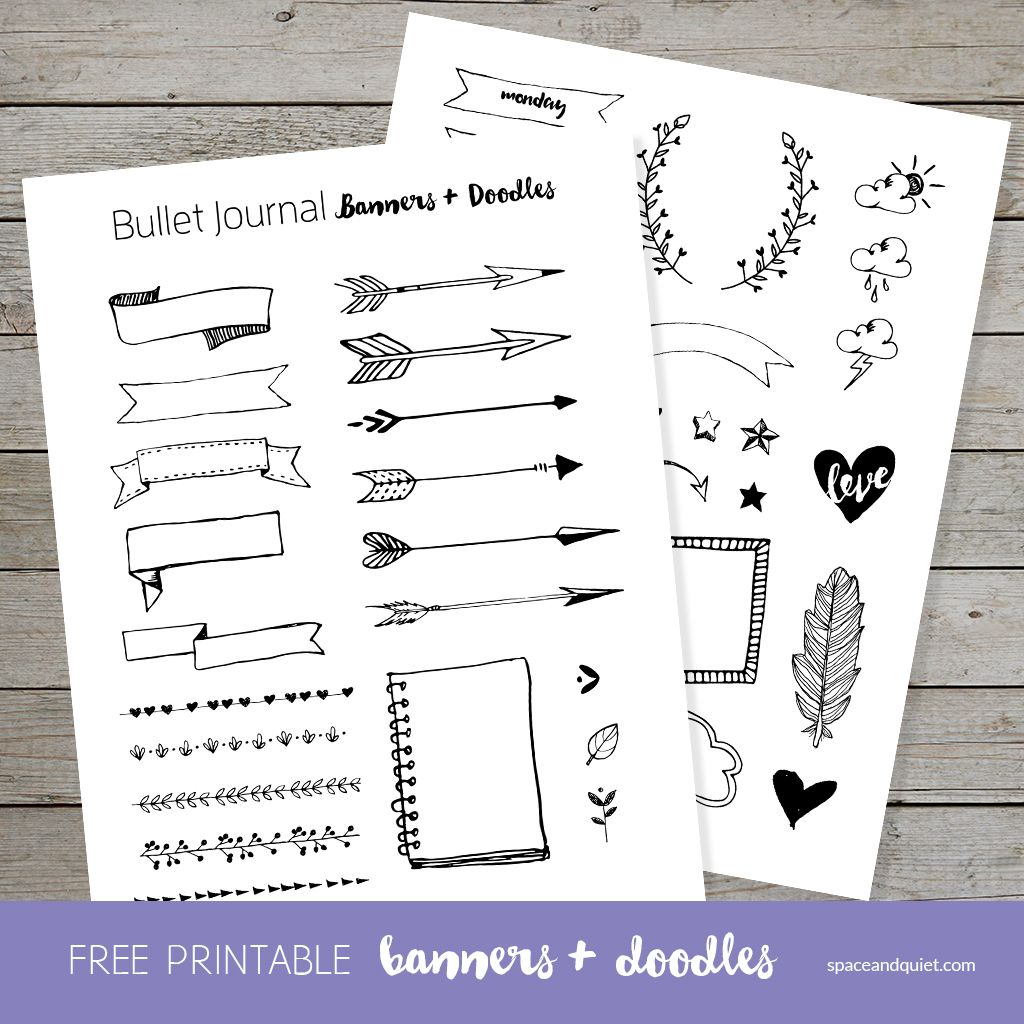 Free Bullet Journal Printable Banners And Doodles Bullet Journal Paper Bullet Journal Banner Bullet Journal Free Printables