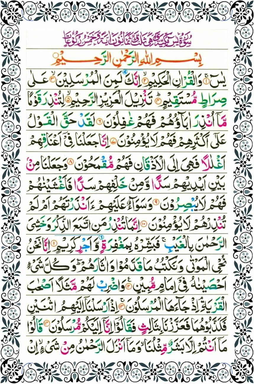 Surah Yaseen Page-1 (With images) | Surah kahf, Quran