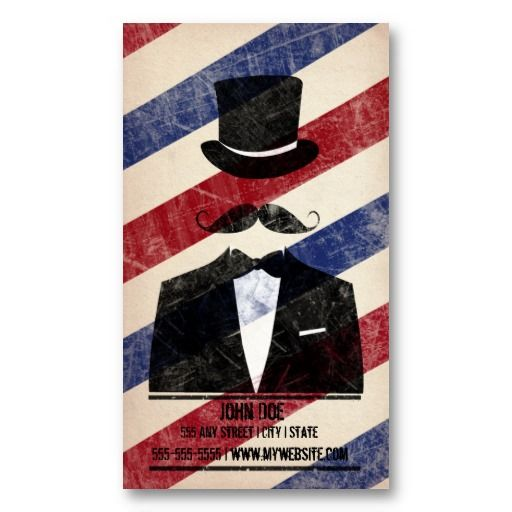 Barbershop business card design cards barbershop and business cards barbershop business card design card has a gentleman with moustache and top hat colourmoves