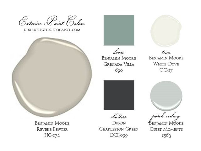 An elegant palate of Benjamin Moore colors for exterior paints