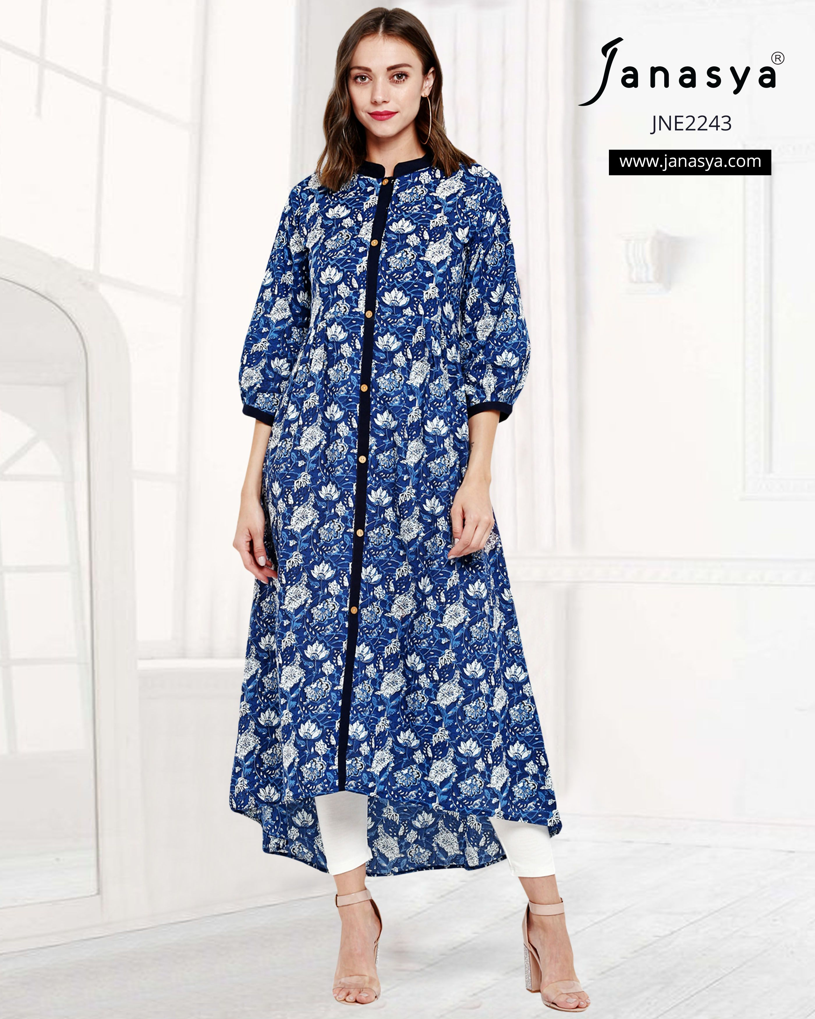 ca6821d5299 Blue Floral Print 3 4 Sleeves Flared   High Low Hemline Cotton Kurti ...