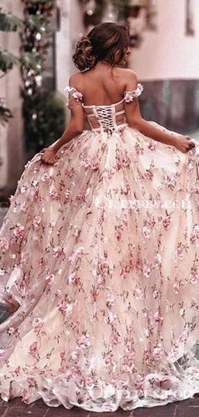 Ball Gown Off-The-Shoulder Charming Newest Pink Tulle Handmade Flower Appliqued Long Cheap Prom Dres
