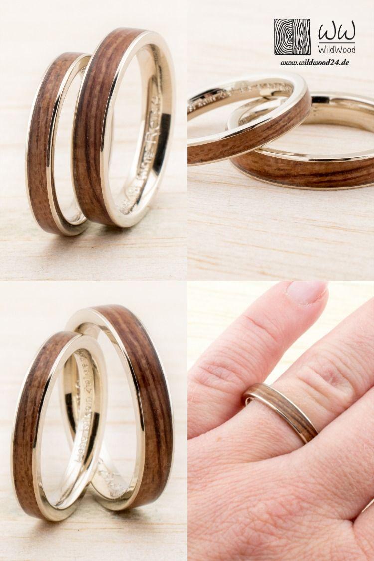 Wedding band Set Wooden Bentwood Rings Gold Silver Whitegold
