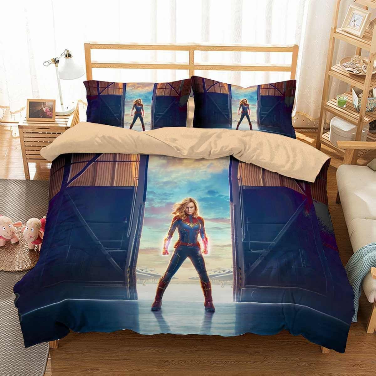 3D Customize Captain Marvel Bedding Set Duvet Cover Set Bedroom Set ...