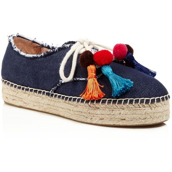 kate spade new york Lane Pom-Pom Espadrille Sneakers (3,510 MXN) ❤ liked on Polyvore featuring shoes, sneakers, blue, kate spade sneakers, pom pom shoes, kate spade shoes, blue espadrilles and kate spade espadrilles