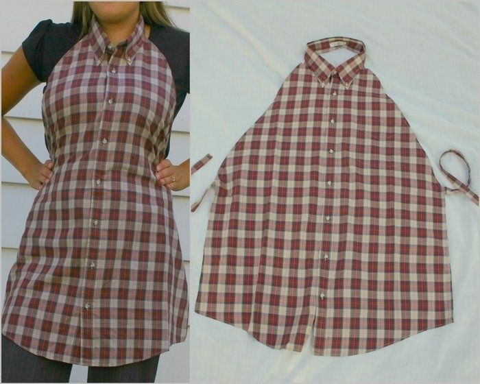 Apron from men's shirt. No tutorial, website not In English but other cute pictures.