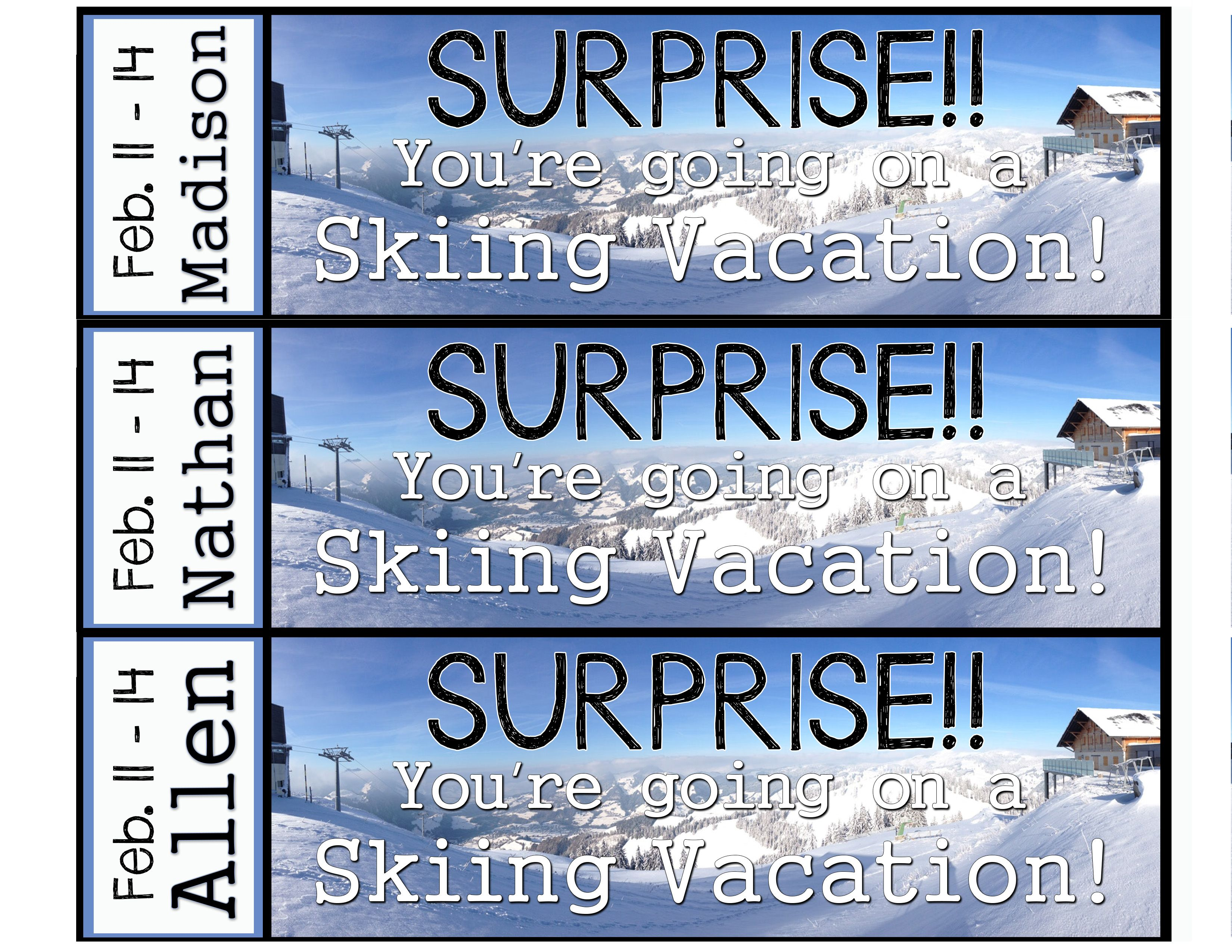 Printable Surprise Ski Vacation Tickets Custom Name Dates