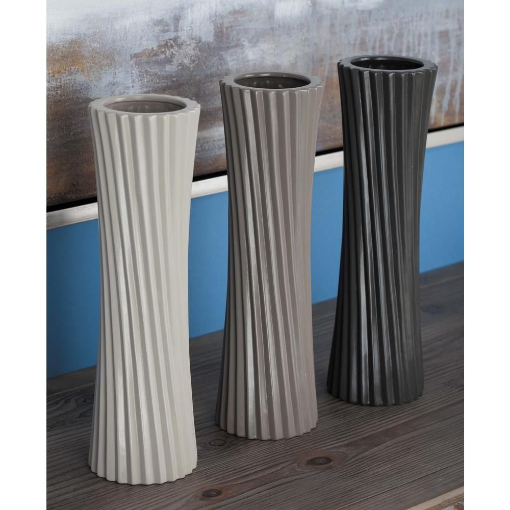 13 in. Twisted Ceramic Decorative Vases in Black, White and Gray (Set of 3), Multi