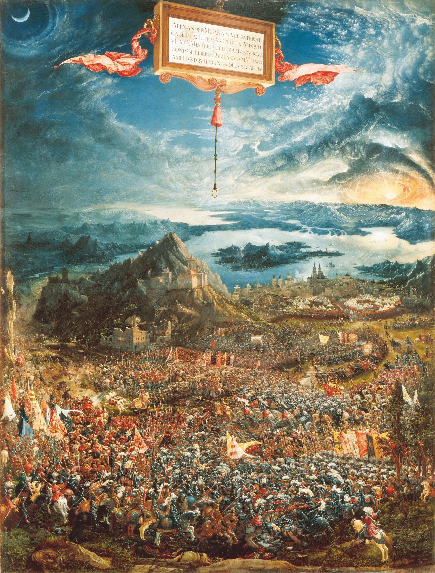 The Battle of Alexander at Issus,  AutorAlbrecht Altdorfer, 1528-1529 TécnicaÓleo sobre tabla EstiloRenacimiento Tamaño158,4 cm × 120,3 cm LocalizaciónAlte Pinakothek, Múnich, Alemania