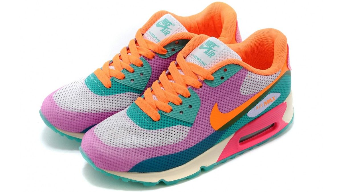 Nike Women s Air Max 90 Hyperfuse Multicolor Purple Volt Bright Citrus Pink  Force 454460 500