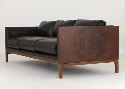 Milo Baughman Thayer Coggin Burl Walnut Leather Sofa