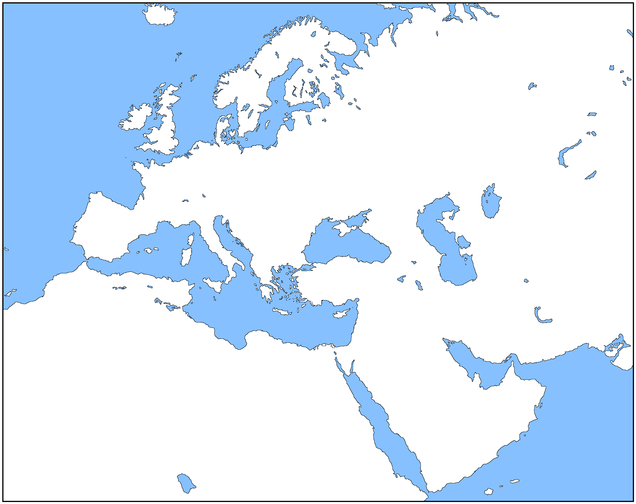 Outline Map Of Europe And North Africa With Blank And | maps ...