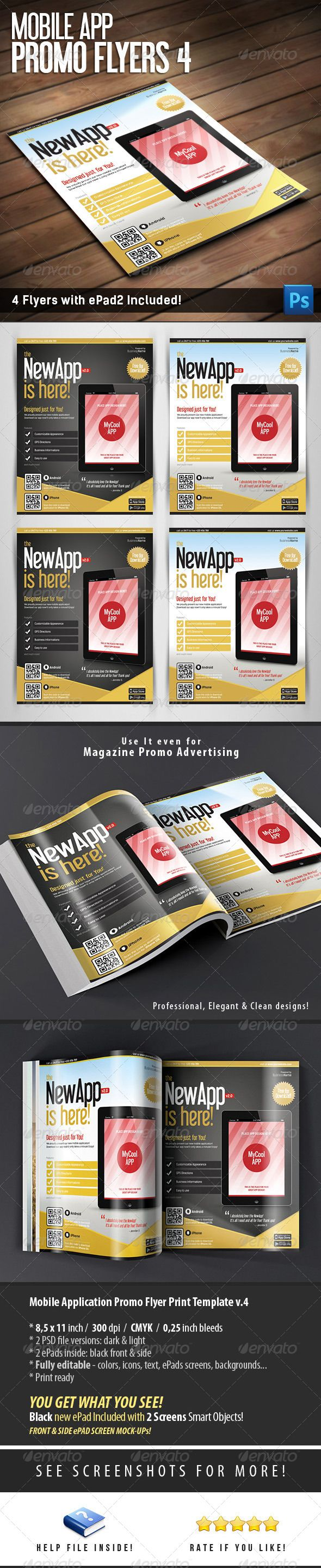 Mobile App Flyers Template v.4 | Pinterest