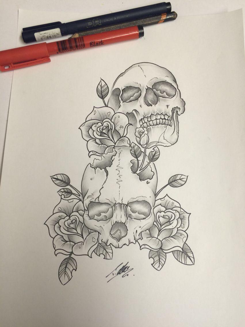 Tattoo Skull Drawing Drawn Up To Tattoo By Travis Allen Www