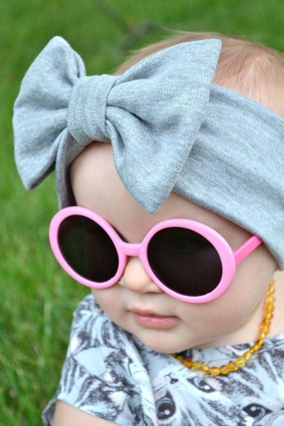 Grey Baby Turban Headband With Bow Kids Fall Fashion