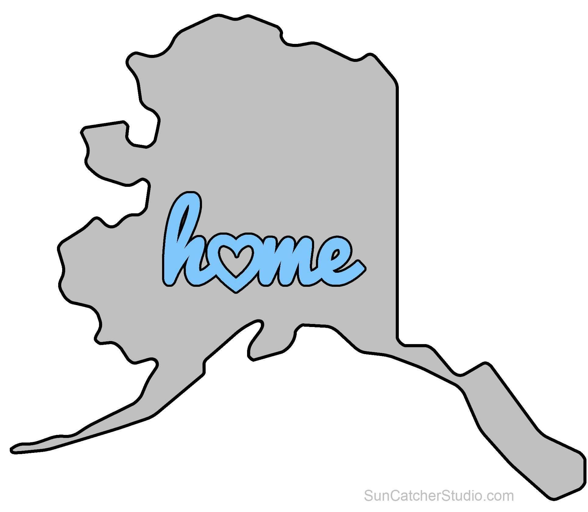 Alaska Map Outline Printable State Shape Stencil Pattern