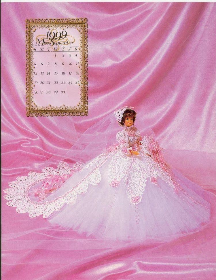 Vestido de Noiva de Crochê Com Tule Para Barbie Coleção Calendário 1999 - Annie Potter