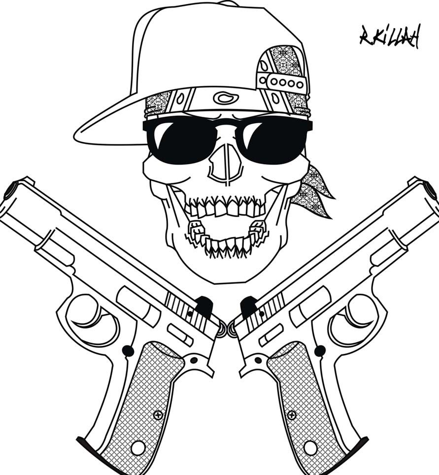 Drawings Easy Skull With Guns: My Gangsta Skull