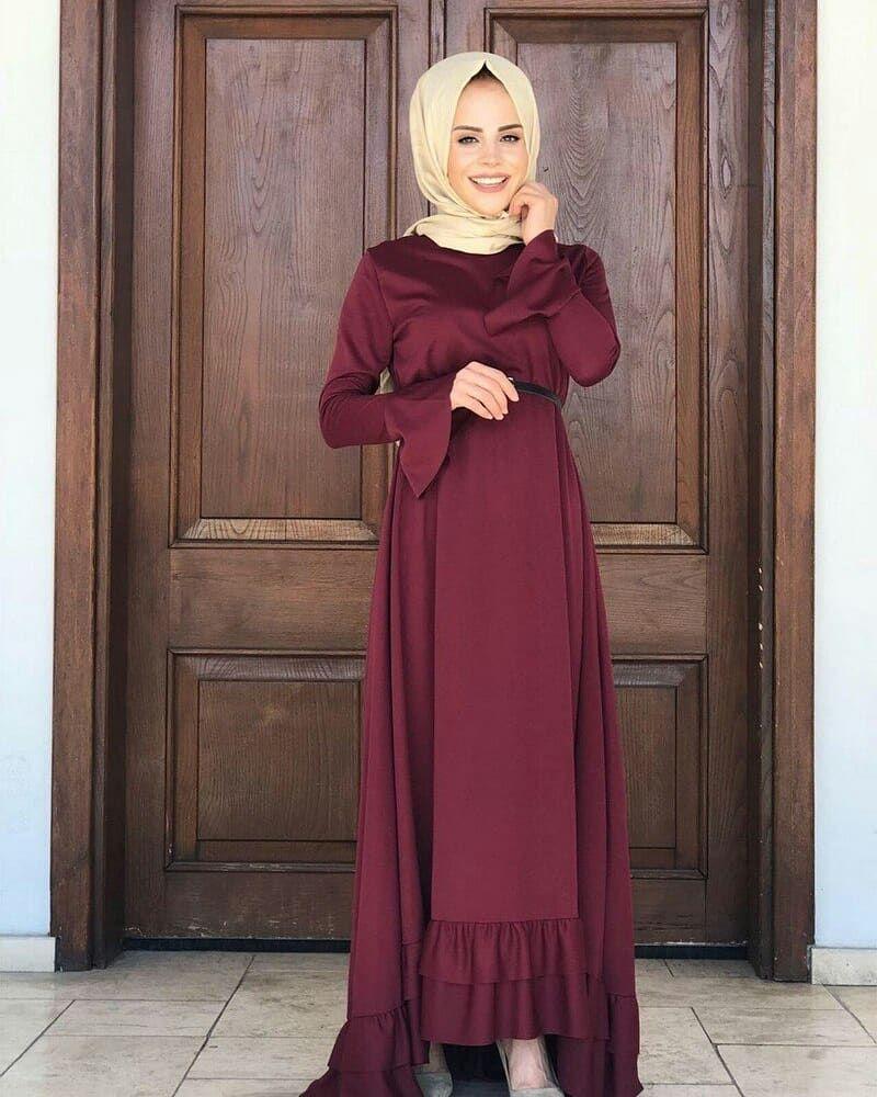 69a11eb322d0f Fırfır Kuyruklu Tesettür Elbise Ürün Kod | Tesettür Elbise in 2019 ...