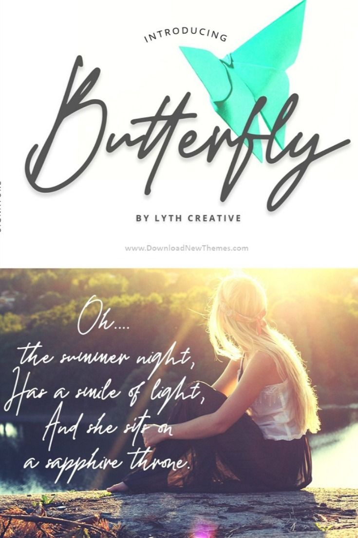 Butterfly is an exciting handwritten font with signature style. This beautiful script can make your design project look elegant, classy, and modern.  Butterfly is perfect for branding projects, logo, wedding designs, social media posts, advertisements, product packaging, product designs, label, photography, watermark, invitation, stationery and any projects. #linefont #handwrittenfont #handwritingfont #weddingfont #logotypefont #signaturefont #logo #signature
