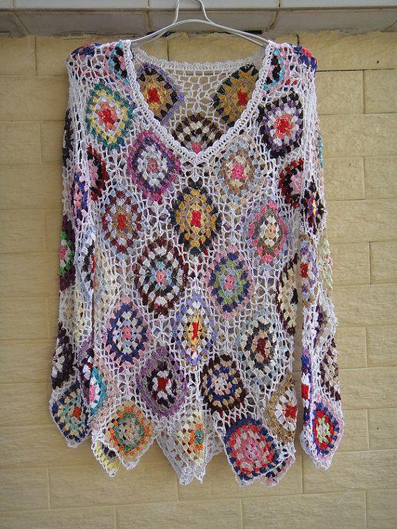 Womens Crochet Jumpers Diamond Blouse Top Granny Square Pattern