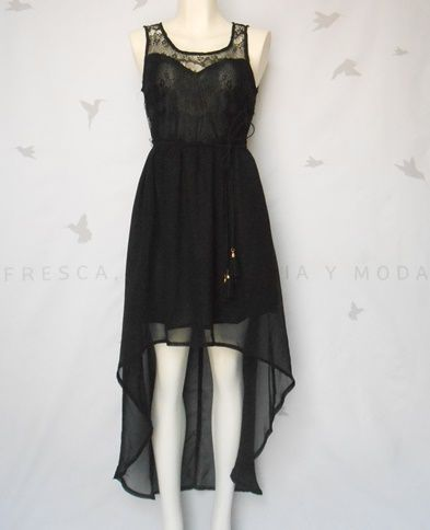 0acca9ef6709 Vestido negro tejido parte de arriba con cola de pato MEDIANA ...