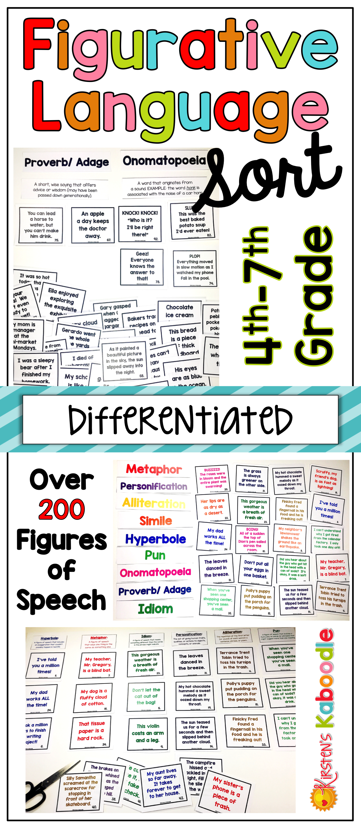 Worksheets Figurative Language Worksheets For Middle School figurative language sort differentiated activity activity