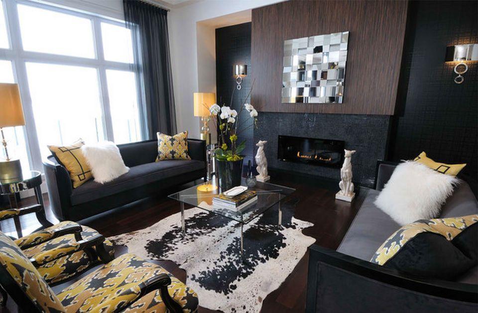 Yellow Chairs Plan Applied In Black Color Schemed Interior Design Ideas With Black Sofas Set And Fireplace In Dekorasi Ruang Keluarga Desain Kamar Kamar Dekor #yellow #and #black #living #room #ideas