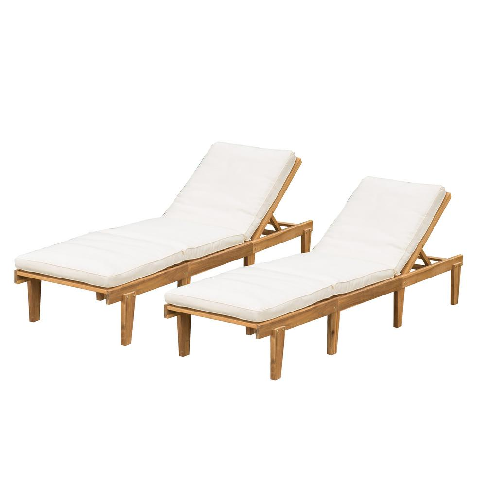- Noble House Wyatt Teak 2-Piece Wood Outdoor Chaise Lounge With