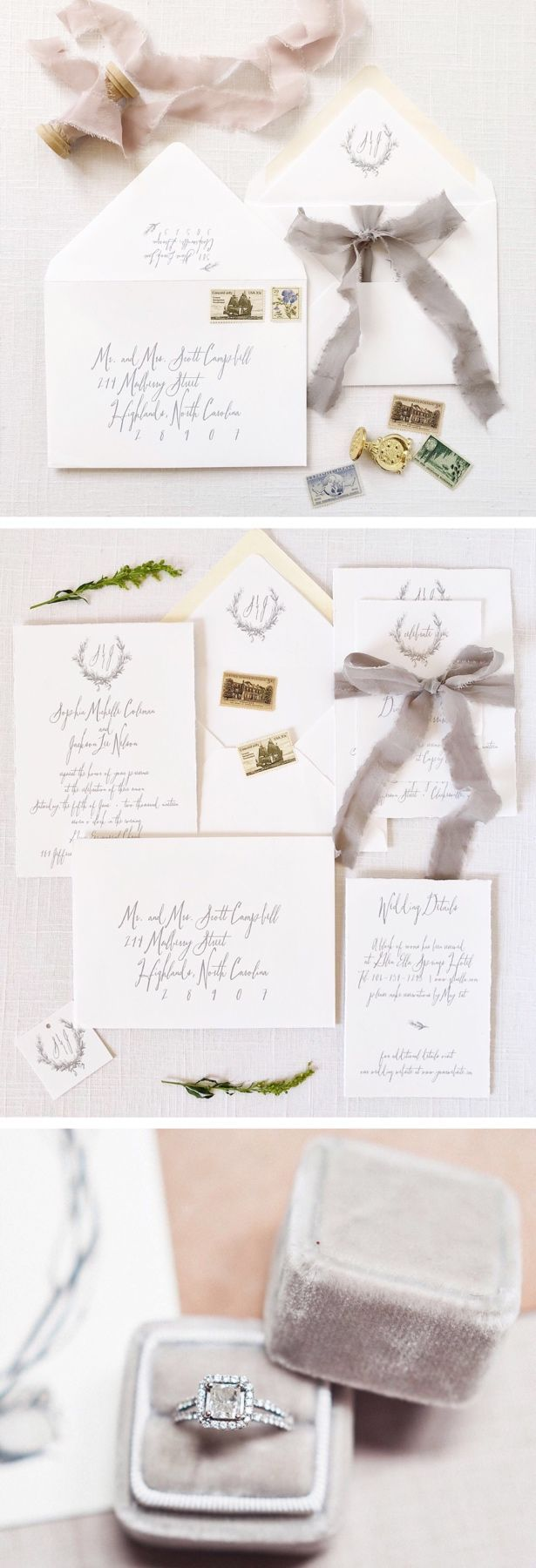 Gray fine art wedding. Invitations by Tiger Lily Invitations Ring ...