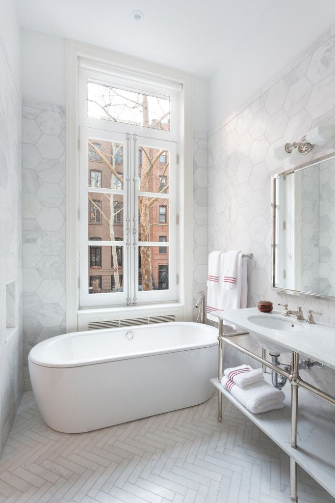 Ocean White Honed 3x12 Set In Herringbone Pattern Herringbone Tile Floors Classic Bathroom Hexagon Tile Bathroom