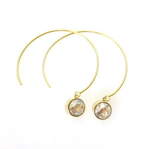 Hand Fabricated Open Hoops Swarovski Crystal Bezels from Jessica Elliot 50 Add a little modern sparkle with these handmade open hoops-- pull them into your ears and stop wherever you like... super lightweight with a Swarovski Crystal bezel dangling from the end. Gold/ Golden Shadow