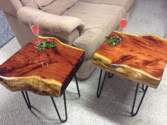 Pair End Tables, Set of Two End Tables, Rustic Furniture, Square End